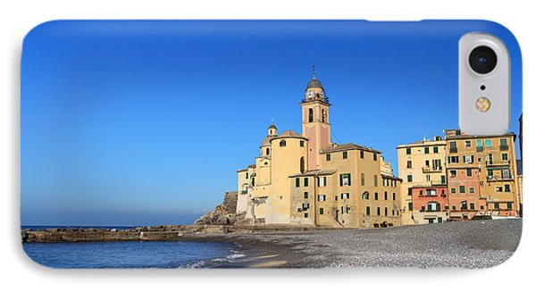 IPhone Case featuring the photograph beach and church in Camogli by Antonio Scarpi
