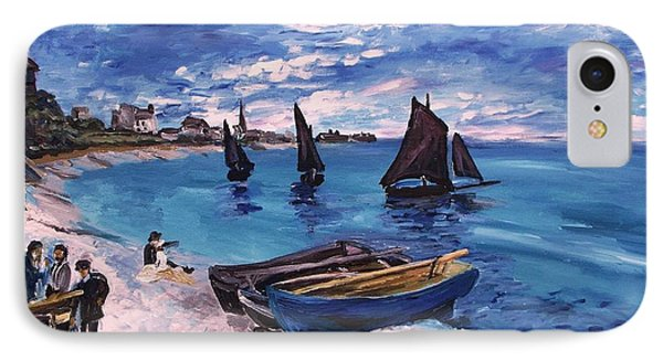Beach At Sainte Adresse Monet IPhone Case by Eric  Schiabor