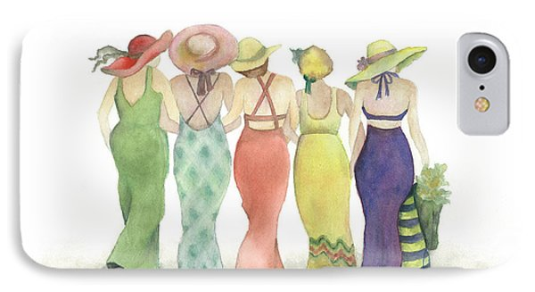 Beach Babes In Coverups And Hats Ready For A Day In The Sun IPhone Case by Nan Wright