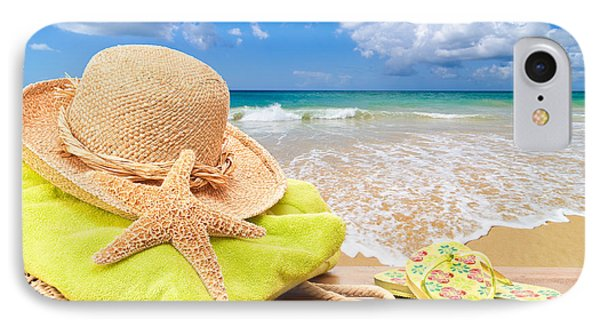Beach Bag With Sun Hat IPhone Case