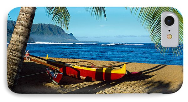 Beach Boat Hanalei Bay Kauai Hi Usa IPhone Case by Panoramic Images