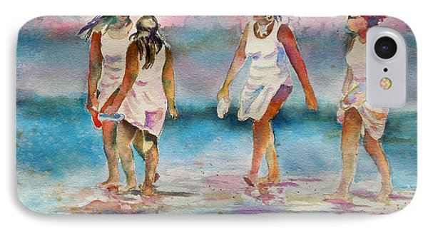 IPhone Case featuring the painting Beach Fun by Mary Haley-Rocks