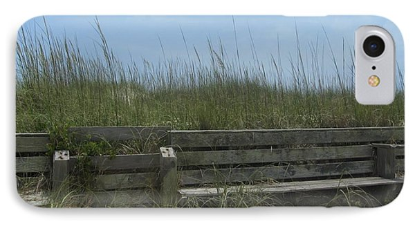 Beach Grass And Bench  IPhone Case by Cathy Lindsey
