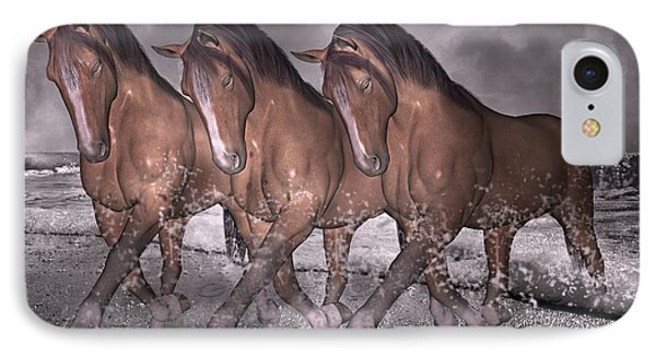 Beach Horse Trio Night March Phone Case by Betsy Knapp