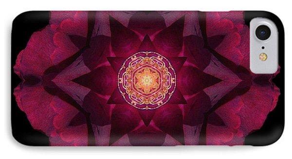 Beach Rose I Flower Mandala Phone Case by David J Bookbinder