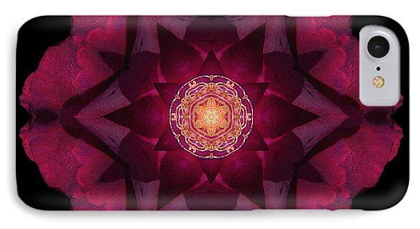 Beach Rose I Flower Mandala IPhone Case by David J Bookbinder
