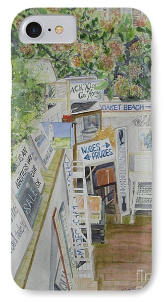 IPhone Case featuring the painting Beach Signs by Carol Flagg
