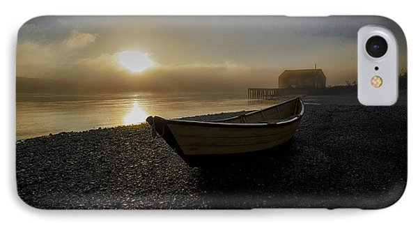 Beached Dory In Lifting Fog  IPhone Case by Marty Saccone