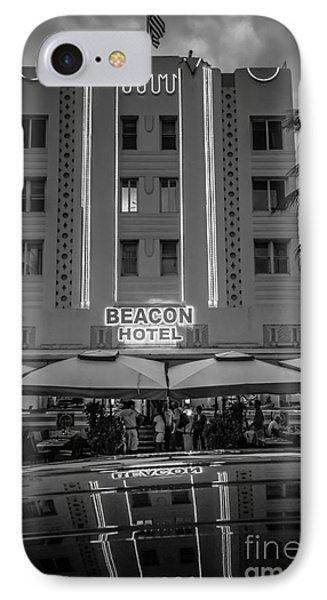 Beacon Hotel Art Deco District Sobe Miami - Black And White IPhone Case by Ian Monk