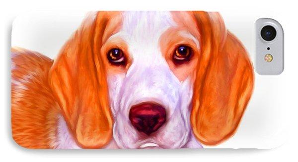 Beagle Dog On White Background Phone Case by Iain McDonald