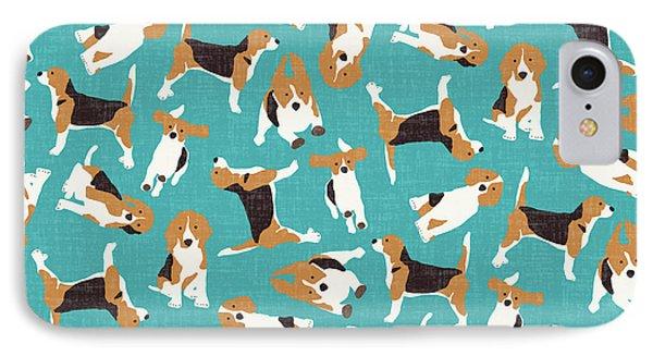 Beagle Scatter Blue IPhone Case