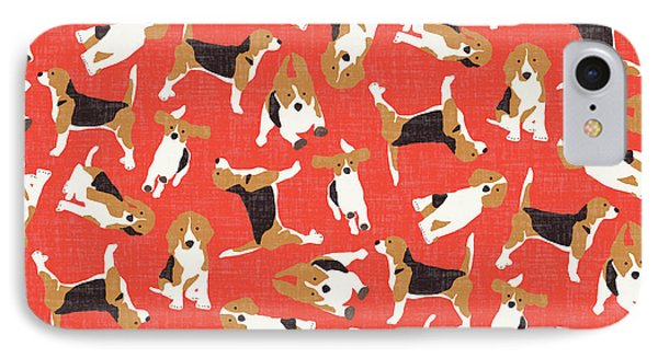Beagle Scatter Coral Red IPhone Case by Sharon Turner