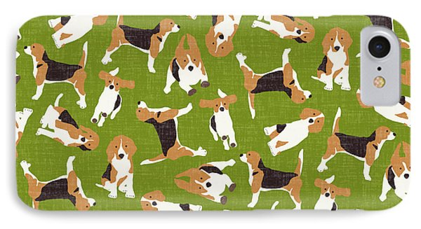 Beagle Scatter Green IPhone Case by Sharon Turner