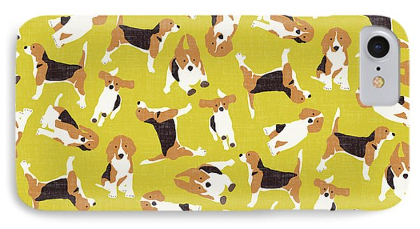 Beagle Scatter Yellow IPhone Case