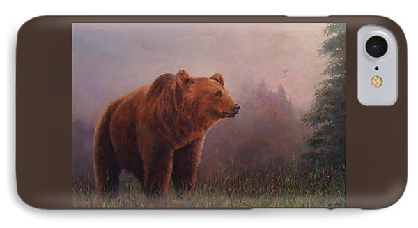 IPhone Case featuring the painting Bear In The Mist by Donna Tucker