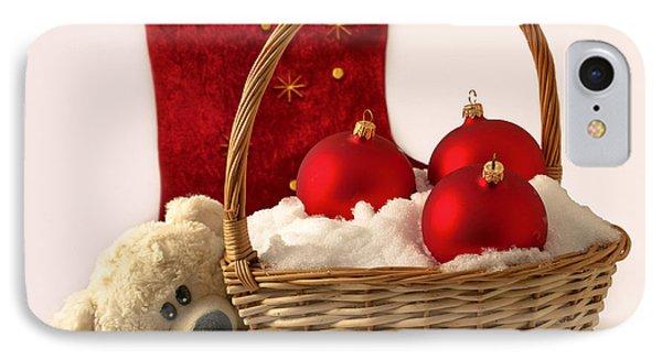 Bear Is Near Wicker With Christmas Balls  Phone Case by Sviatlana Kandybovich