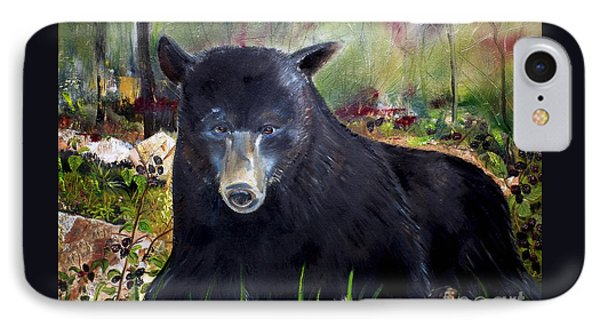 IPhone Case featuring the painting Bear Painting - Blackberry Patch - Wildlife by Jan Dappen