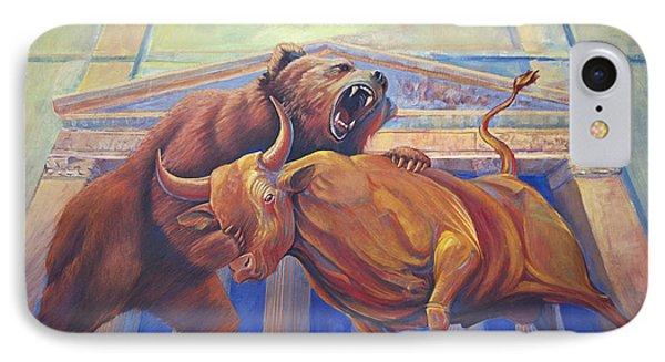 Bear Vs Bull IPhone Case by Rob Corsetti