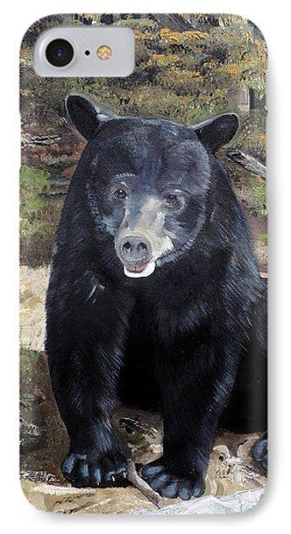 IPhone Case featuring the painting Bear - Wildlife Art - Ursus Americanus by Jan Dappen