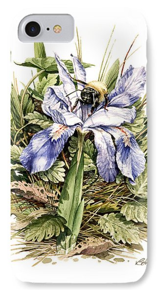 IPhone Case featuring the painting Bearded Dwarf Iris by Bob  George