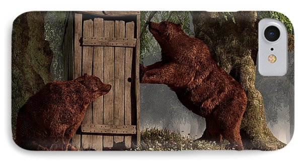 Bears Around The Outhouse IPhone Case by Daniel Eskridge