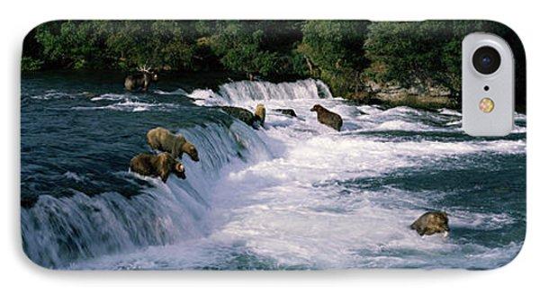 Bears Fish Brooks Fall Katmai Ak IPhone Case by Panoramic Images