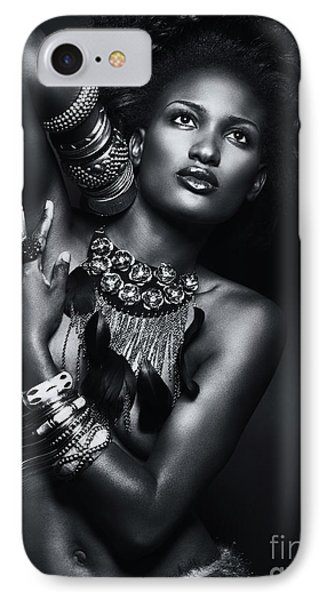 Beautiful African American Woman Wearing Jewelry IPhone Case by Oleksiy Maksymenko