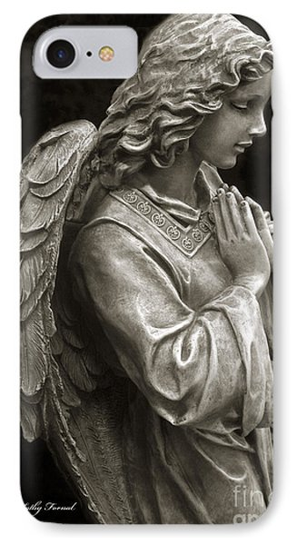 Beautiful Angel Praying Hands Christian Art Print IPhone Case by Kathy Fornal