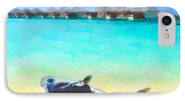 Beautiful Beach With Water Bungalows At Maldives IPhone Case by Lanjee Chee