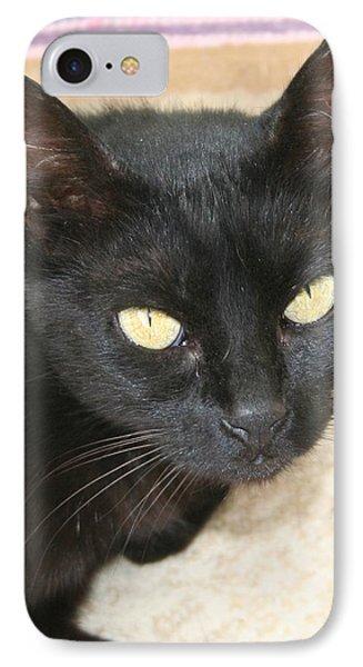 Beautiful Black Cat Portrait  Phone Case by Tracey Harrington-Simpson