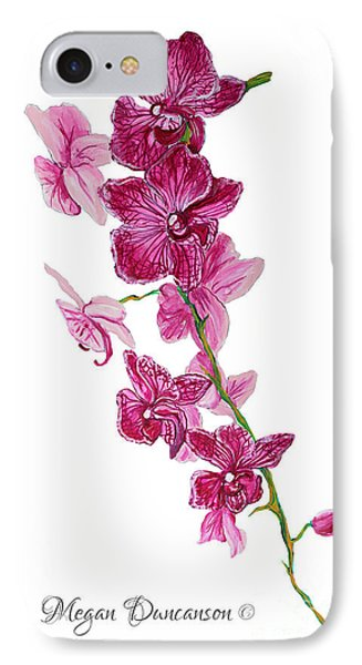 Beautiful Burgundy Orchid Flower Original Floral Painting Pink Orchid I By Megan Duncanson Madart Phone Case by Megan Duncanson