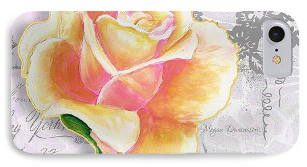 Beautiful Floral Peach Rose Original Flower Painting By Megan Duncanson Phone Case by Megan Duncanson