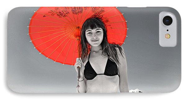 Beautiful Freckle Faced Model  At The Beach Altered Version IPhone Case by Jim Fitzpatrick