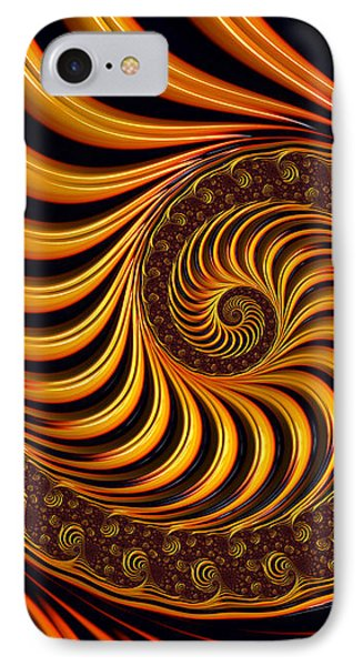 Beautiful Golden Fractal Spiral Artwork  Phone Case by Matthias Hauser