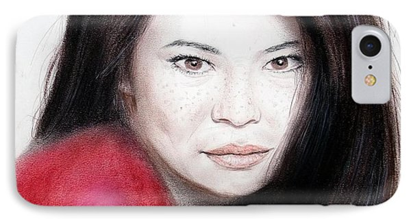 Beautiful Lucy Liu Phone Case by Jim Fitzpatrick