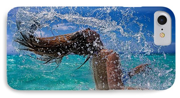 Beautiful Model Splashing IPhone Case by JM Photography