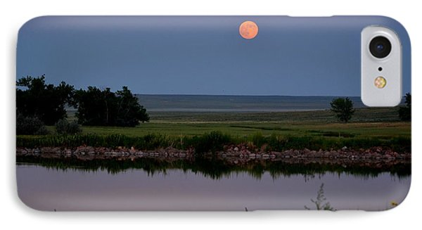 Beautiful Moon Over Kinney Lake IPhone Case by Clarice  Lakota
