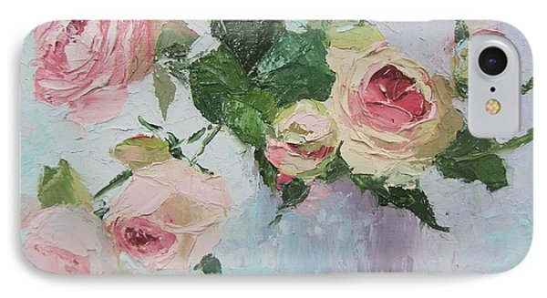 Beautiful Roses Oil Palette Knife Painting IPhone Case by Chris Hobel