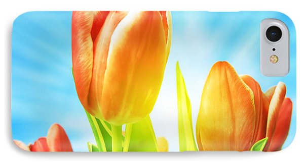 Beautiful Spring Tulips Background Phone Case by Michal Bednarek
