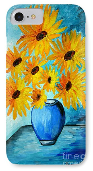 Beautiful Sunflowers In Blue Vase IPhone Case by Ramona Matei