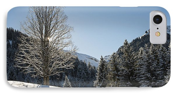 Beautiful Tree In Snowy Landscape On A Sunny Winter Day Phone Case by Matthias Hauser