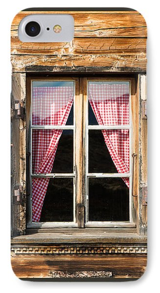 Beautiful Window Wooden Facade Of A Chalet In Switzerland IPhone Case