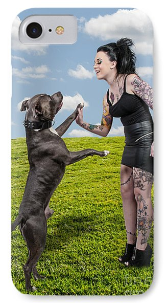 Beautiful Woman And Pit Bull Phone Case by Rob Byron