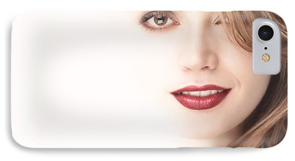 Beautiful Young Woman Face Blending Into Light Background Phone Case by Oleksiy Maksymenko