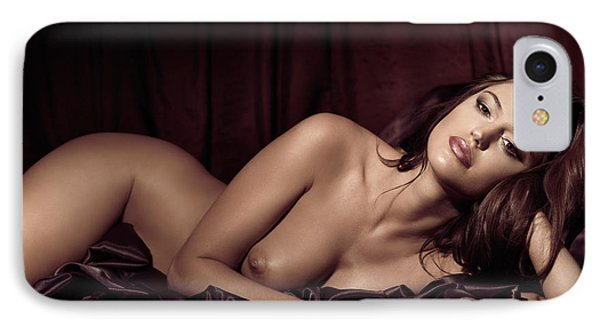 Beautiful Young Woman Lying Naked In Bed Phone Case by Oleksiy Maksymenko