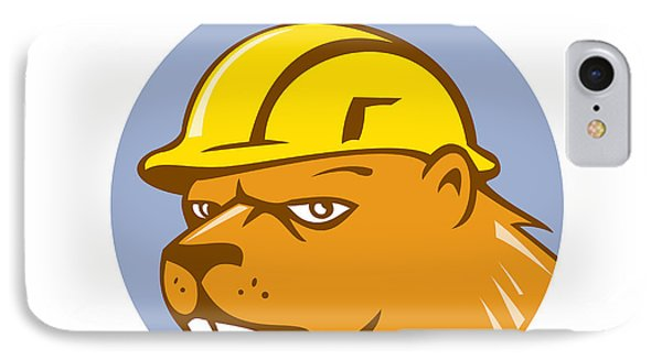 Beaver Construction Worker Circle Cartoon  IPhone Case by Aloysius Patrimonio