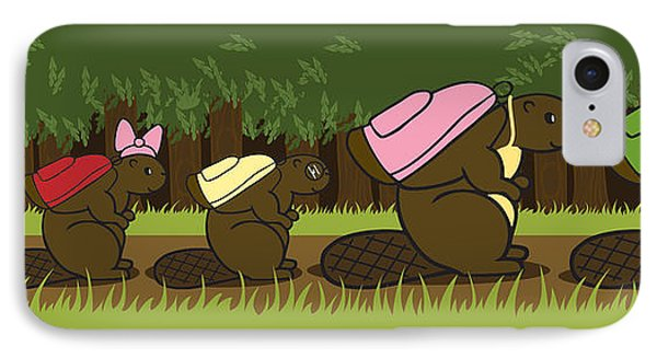Beaver Family Walk Phone Case by Christy Beckwith