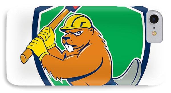 Beaver Lumberjack Wielding Ax Shield Cartoon IPhone Case by Aloysius Patrimonio