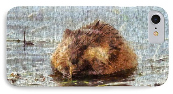 Beaver Portrait On Canvas IPhone 7 Case by Dan Sproul