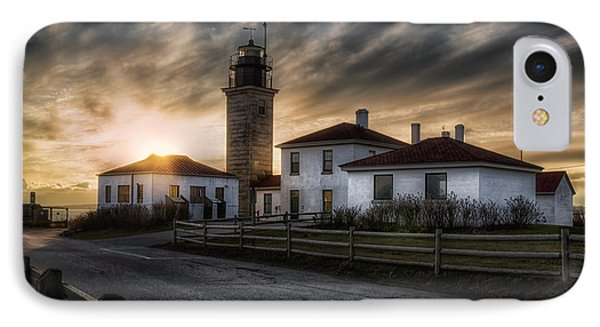 Beavertail Lighthouse Sunset Phone Case by Joan Carroll